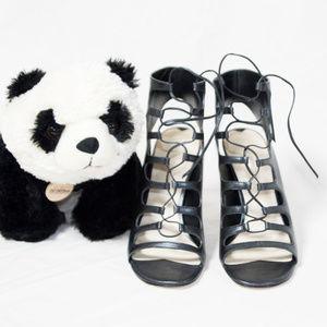 """Via Spiga Shoes - Metallic grey lace cage Via Spiga """"Liberty"""" heels"""